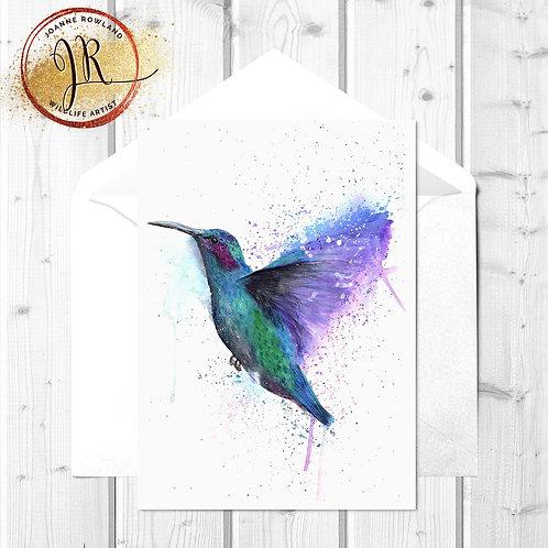 Hummingbird Fine Art Card - Colour Splash