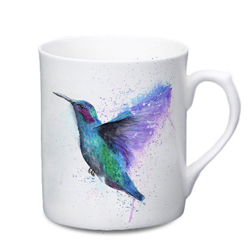 Hummingbird China Mug - Colour Splash Hummingbird
