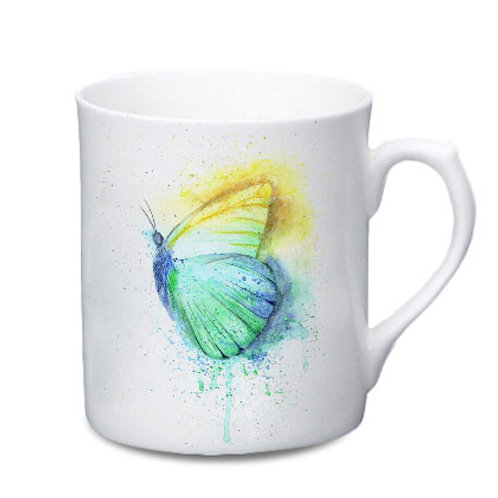 Butterfly China Mug - Colour Splash Butterfly
