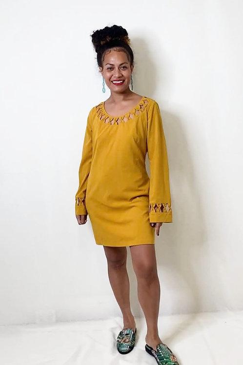 Blue Juice Mustard Dress