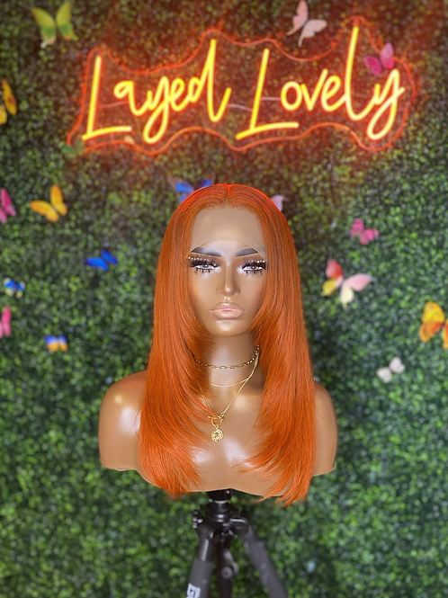 "20"" Ginger Orange Lace Frontal Wig"