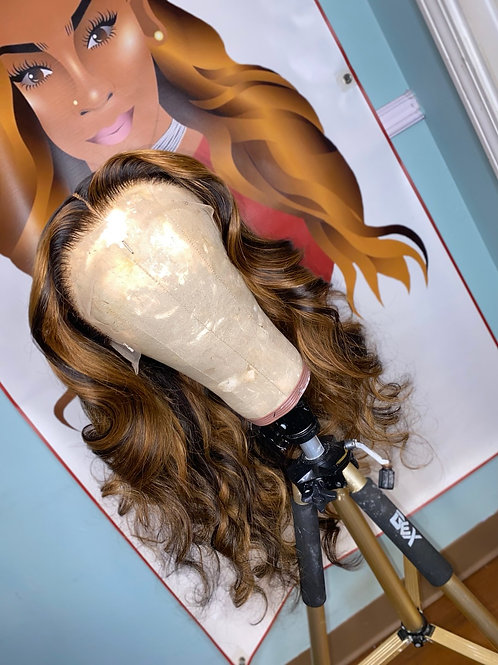 Honey blonde highlight lace frontal wig