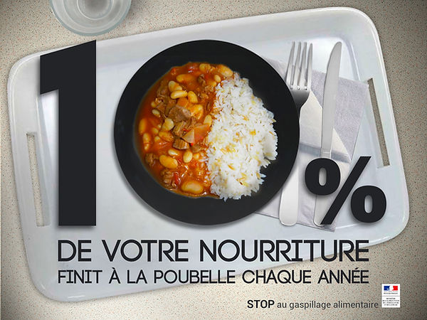 Gaspillage alimentaire affiche nourriture poubelle cantine