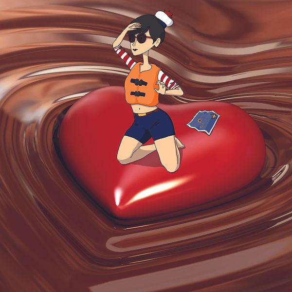 photoillustration femme chocolat amour coeur naufragée