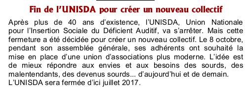 Fin de l'UNISDA