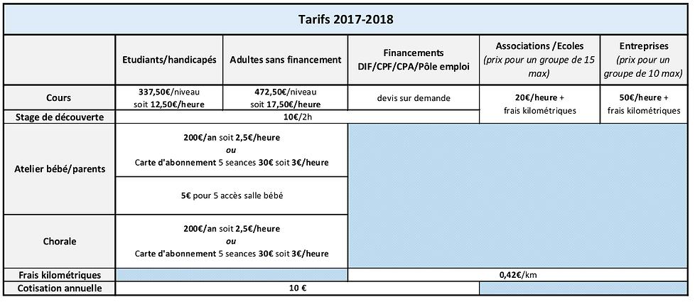 tarifs 2017 2018