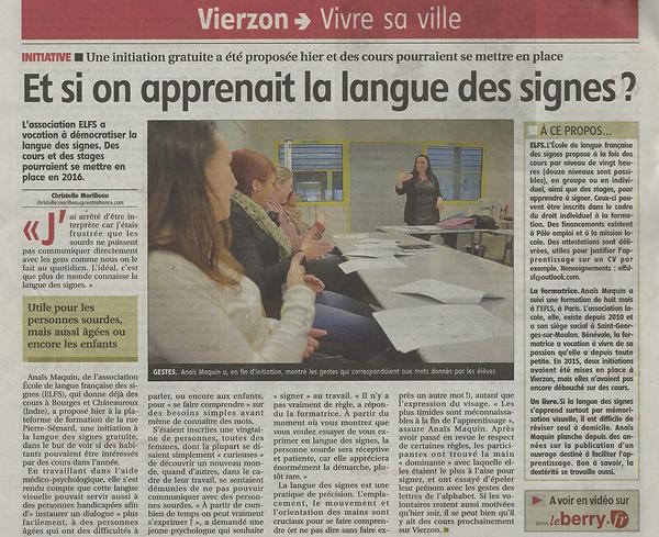 Initiation langue des Française Cher Le Berry