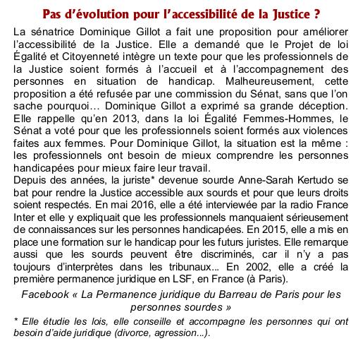 Accéssibilité justice