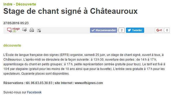 Chant signe Chateauroux Indr La nouvelle République