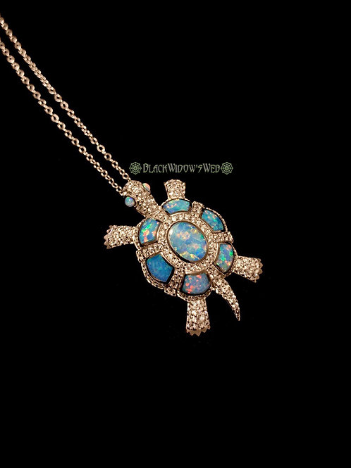 Turtle, Blue Fire Opal, Sterling Silver Necklace