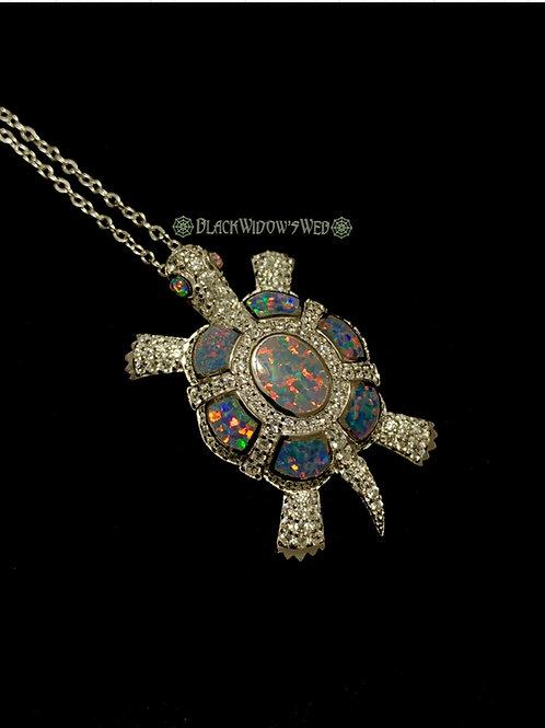 Turtle, Black Fire Opal, Sterling Silver Necklace