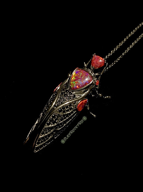 Red Cicada, Sterling Silver Necklace
