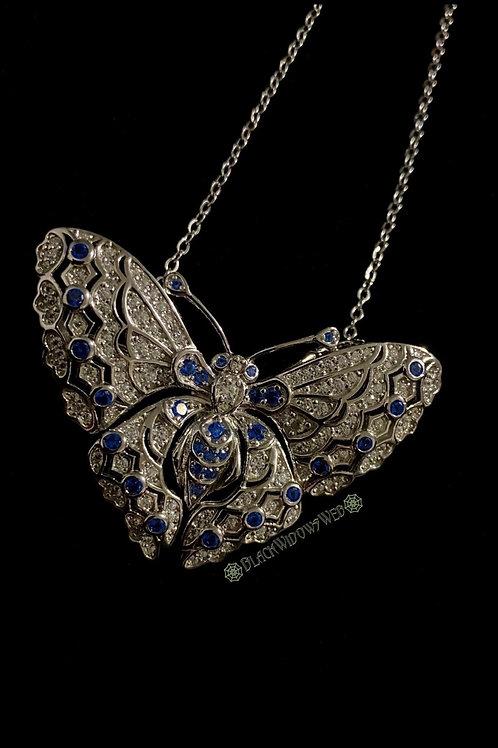 Ocean Blue Butterfly, Sterling Silver Necklace