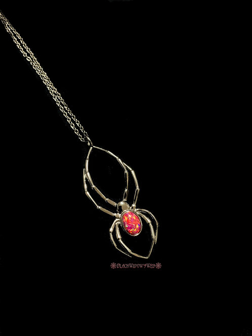 Orb Weaver Red Fire Opal Black Sterling Silver Necklace