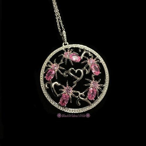 I Love Spiders Pink Spinel Sterling Silver Medallion
