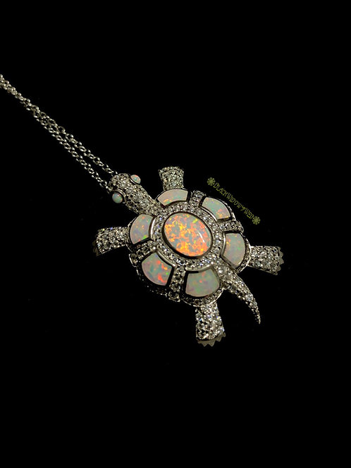 Turtle, Wite Fire Opal, Sterling Silver Necklace