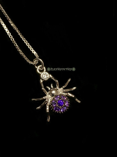 Spider Amethyst Sterling Silver Necklace