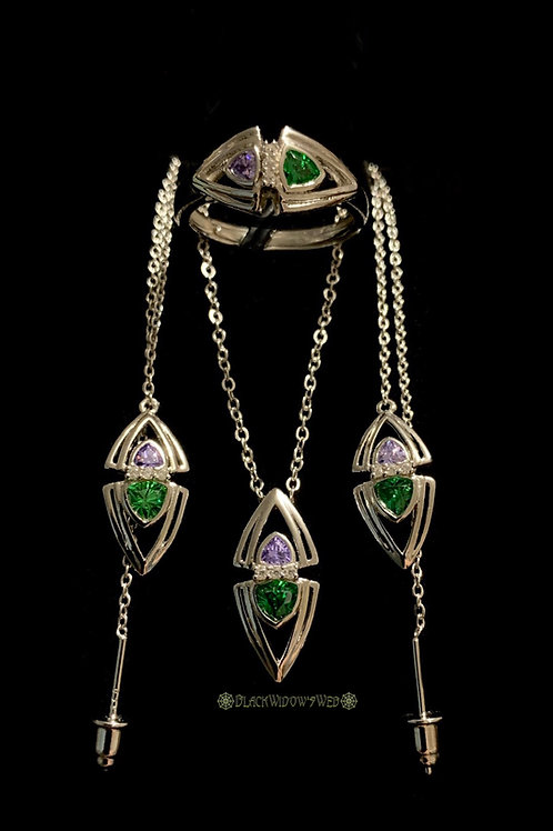 Chrome Diopside/Amethyst Necklace, Earrings and Ring Sterling Silver Set