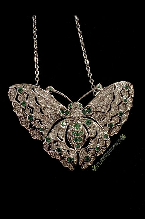 Forest Green Butterfly, Sterling Silver Necklace