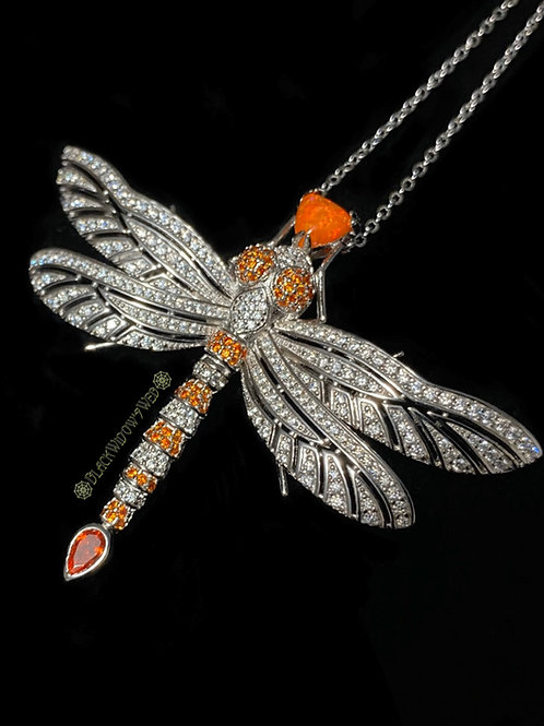 Sunset Dragonfly, Sterling Silver Necklace and Pin