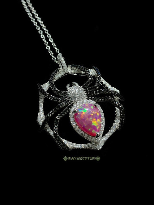 Pink Fire Opal Sterling Silver Spider Necklace