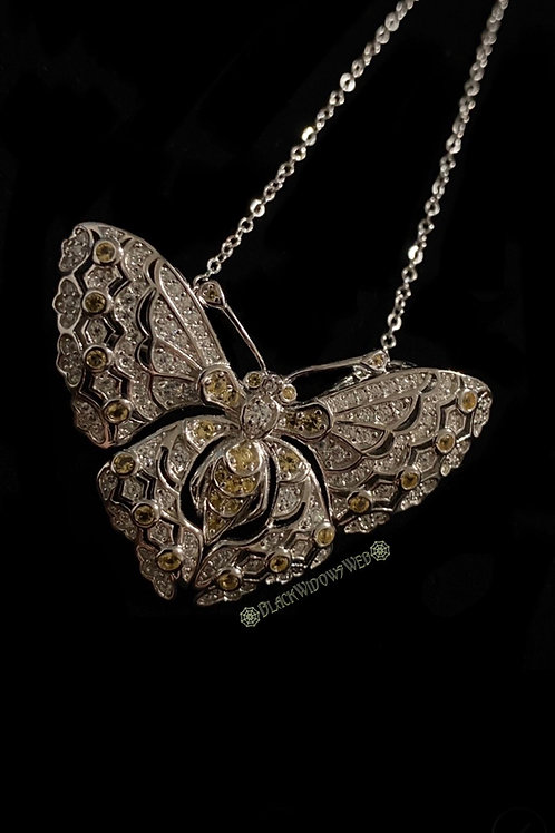 Sunshine Butterfly Sterling Silver Necklace and Pin.
