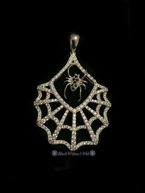 Silver Spider in The Web Necklace