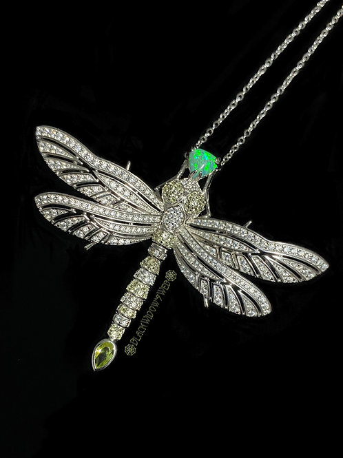 Forest Green Dragonfly, Sterling Silver Necklace and Pin