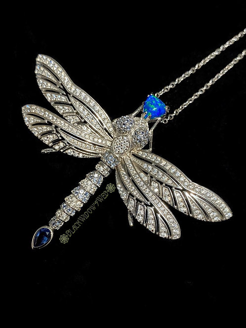 Midnight Dragonfly, Sterling Silver Necklace and Pin