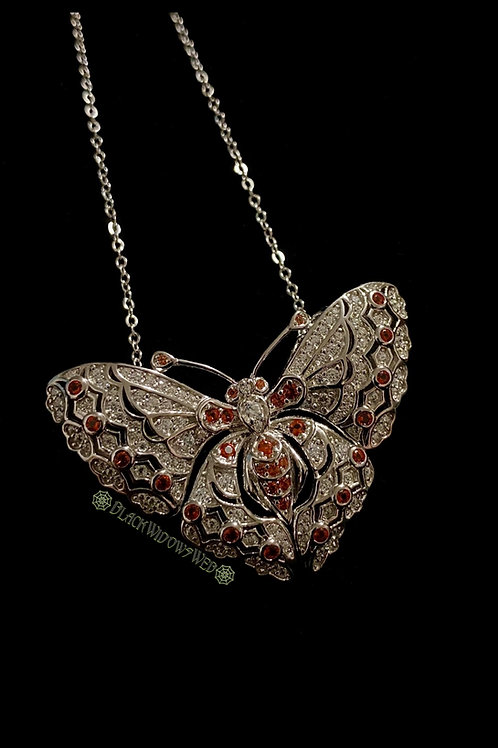 Fire Butterfly Sterling Silver Necklace and Pin.