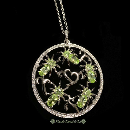 I Love Spiders Peridot Sterling Silver Medallion