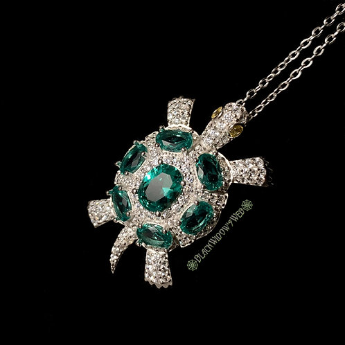 Turtle, Green Tourmaline, Sterling Silver Necklace