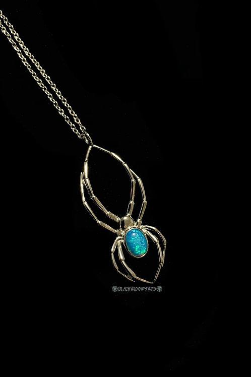 Orb Weaver Blue Opal Sterling Silver Necklace