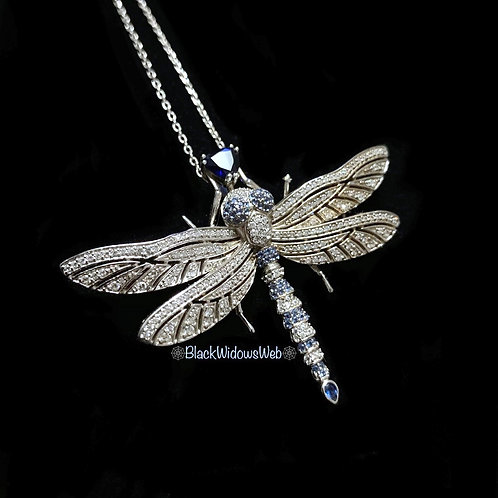 Dragonfly Blue Sapphires Sterling Silver Pendant and Pin