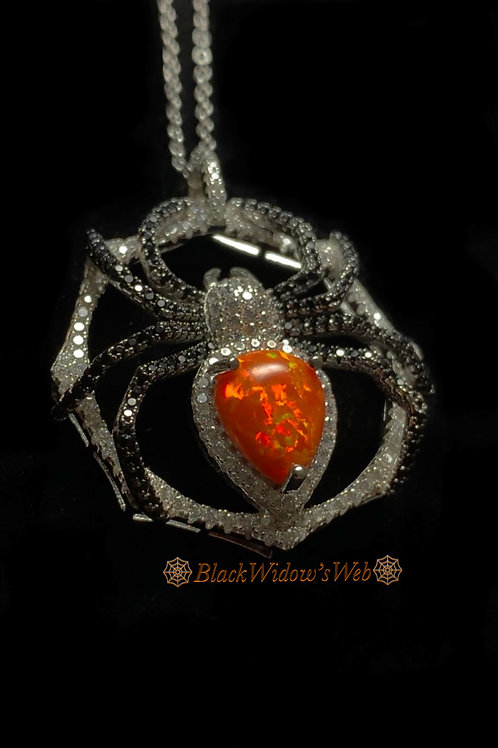 Fire Opal Sterling Silver Spider Necklace