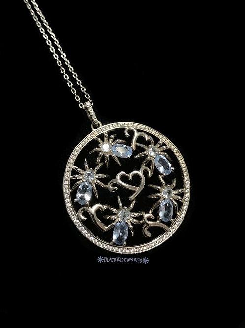 I Love Spiders Aquamarine Sterling Silver Medallion