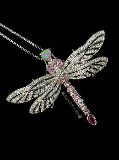 Ruby Pink Dragonfly, Sterling Silver Necklace and Pin