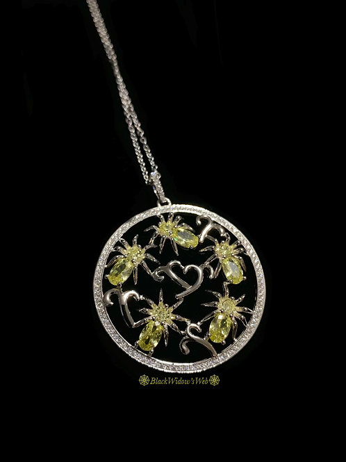 I Love Spiders Citrine Sterling Silver Medallion