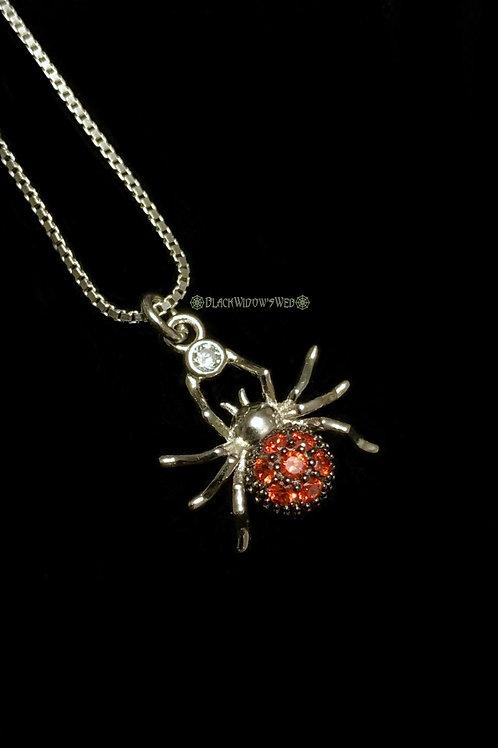 Spider Ogange Zircon Sterling Silver Necklace