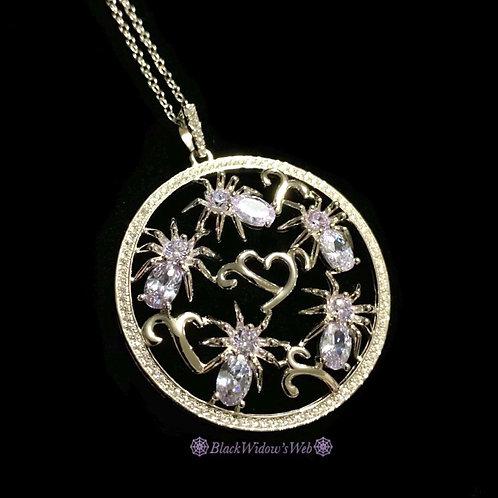 I Love Spiders Violet Amethyst Sterling Silver Medallion
