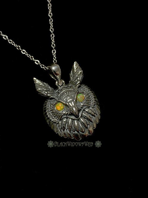 Regal Owl, Sterling Silver Necklace