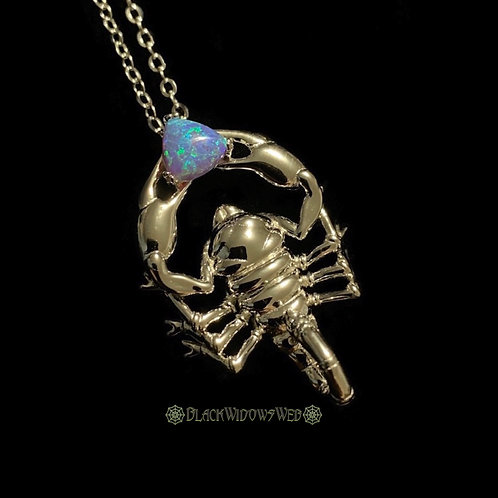 Lavender Scorpion, Sterling Silver Necklace