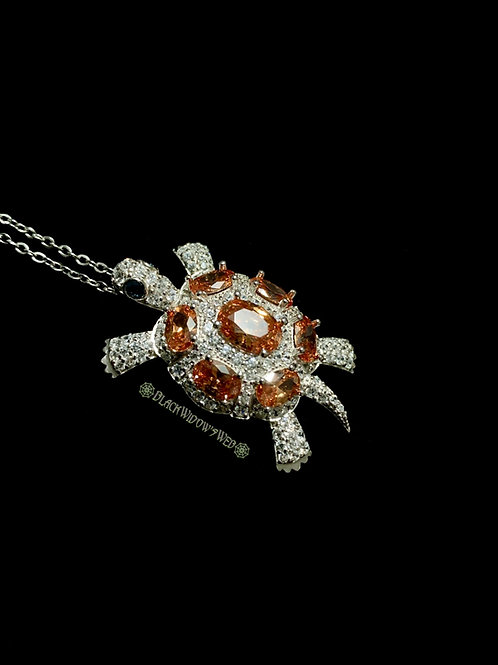 Turtle, Citrine, Sterling Silver Necklace