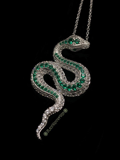 Green Serpent, Sterling Silver Necklace