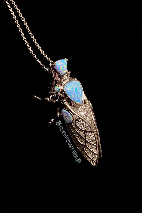 White Cicada, Sterling Silver Necklace