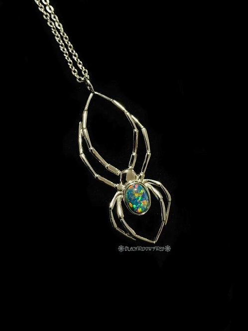 Orb Weaver Black Fire Opal Sterling Silver Necklace