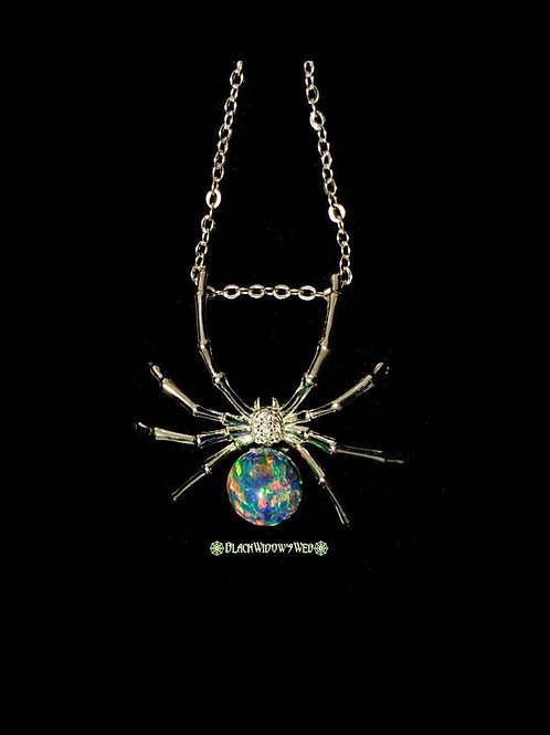 Green Divine Widow, Sterling Silver Necklace