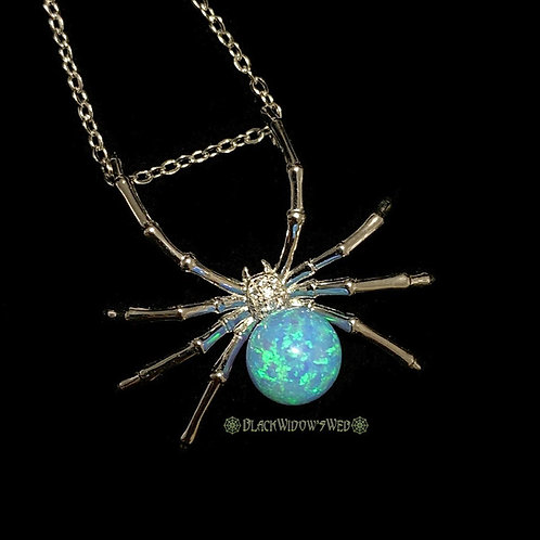 Neon Blue Widow, SterlingSilver Necklace