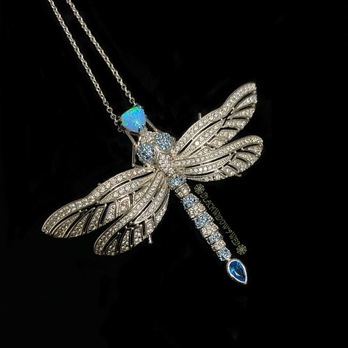 Aqua Blue Dragonfly, Sterling Silver Necklace and Pin