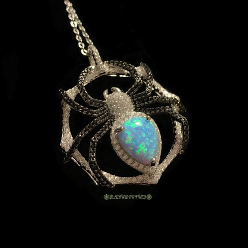 Blue Fire Opal Sterling Silver Spider Necklace